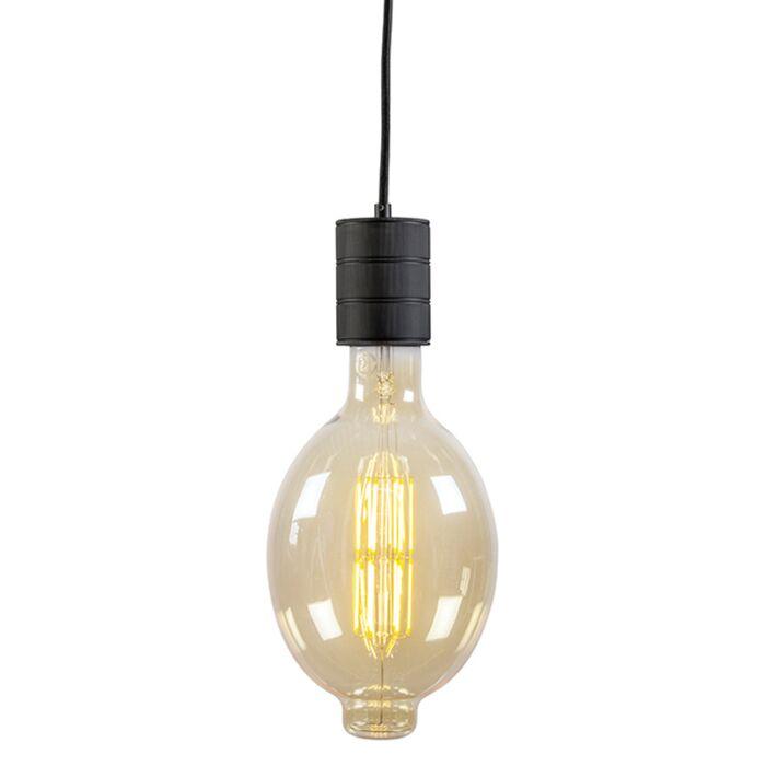 Calex-retro-pendel-zwarte-fitting-E40-200-cm