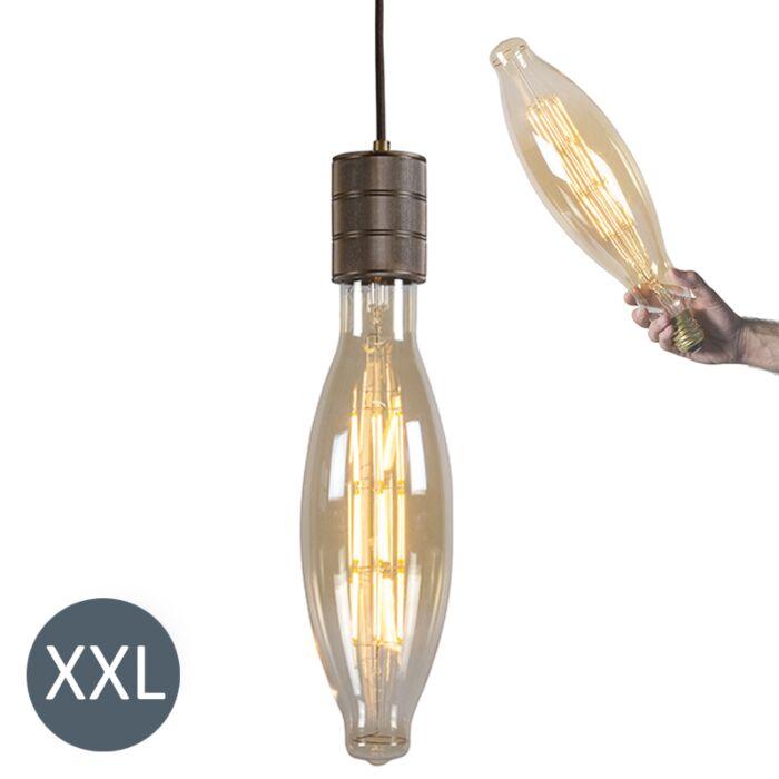 Hanglamp-Elips-brons-met-dimbare-LED-lamp