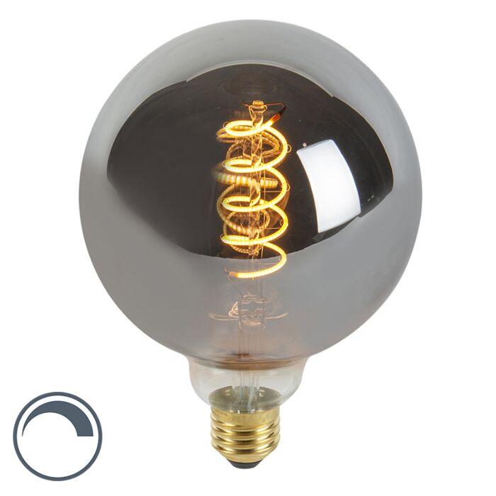 E27-dimbare-LED-gedraaid-filament-lamp-G125-smoke-100-lm-2100K