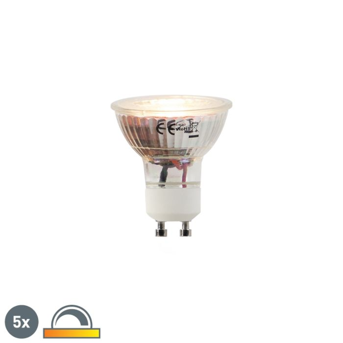 Set-van-5-LED-lampen-GU10-5W-2000-2700K-Dim-to-warm