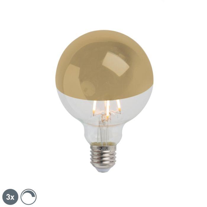 Set-van-3-E27-dimbare-LED-kopspiegel-G95-goud-280lm-2300K