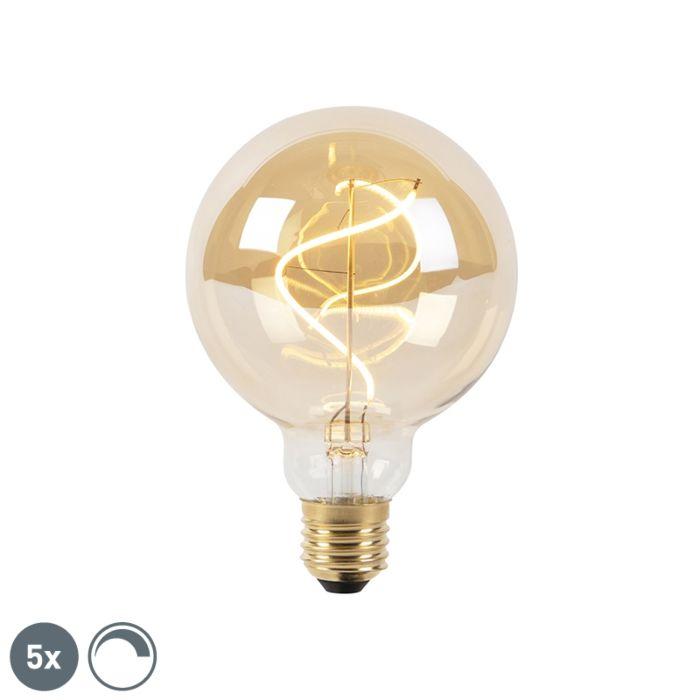 Set-van-5-E27-dimbare-LED-spiraal-filament-lampen-G95-goldline