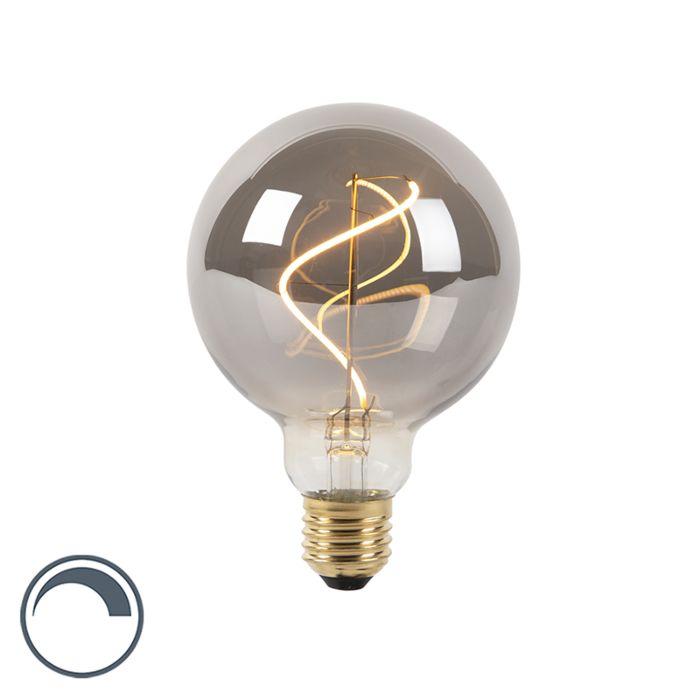 E27-dimbare-LED-spiraal-filament-lamp-G95-smoke-4W-100-lm-2100K