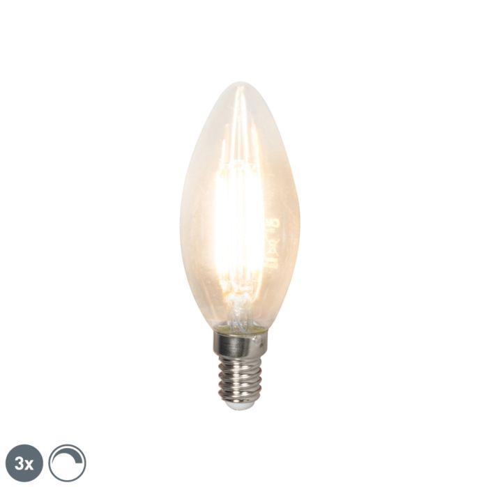 Set-van-3-LED-filament-kaarslamp-E14-240V-3,5W-350lm-B35-dimbaar