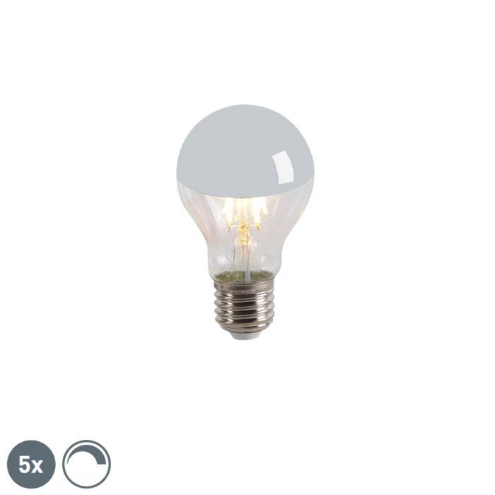 Set-van-5-LED-filamentlamp-kopspiegel-E27-240V-4W-300lm-A60-dimbaar