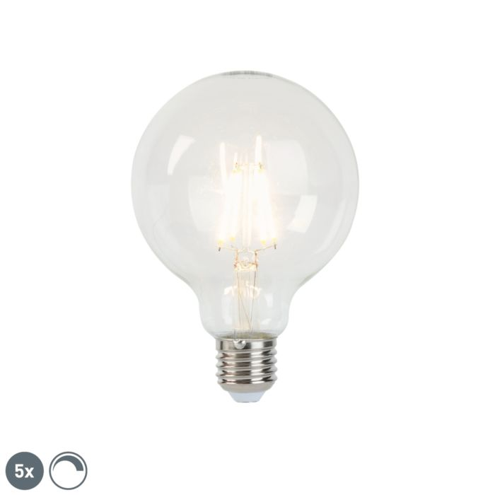 Set-van-5-LED-filament-lamp-E27-5W-450lm-G95-dimbaar-helder