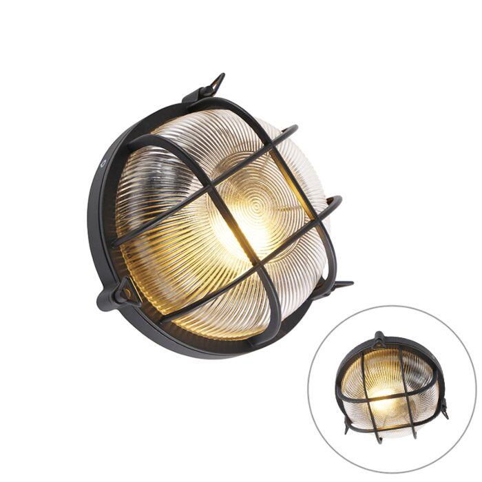 Industriële-ronde-wandlamp-zwart-IP44---Noutica