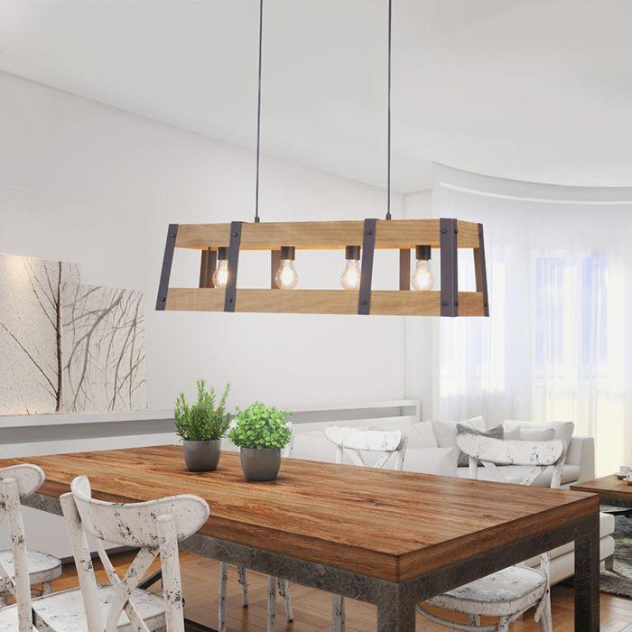 Industriële-hanglamp-zwart-met-hout-4-lichts---Krat