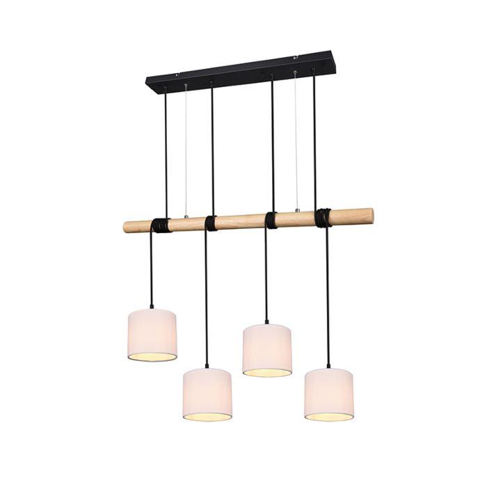 Landelijke-hanglamp-zwart-met-hout-4-lichts---Jake