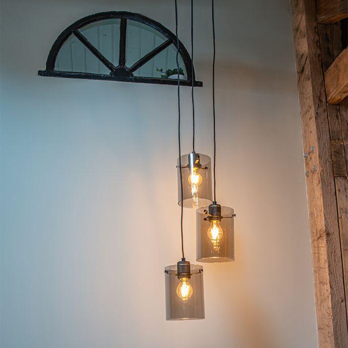Design-hanglamp-zwart-met-smoke-glas-3-lichts---Dome