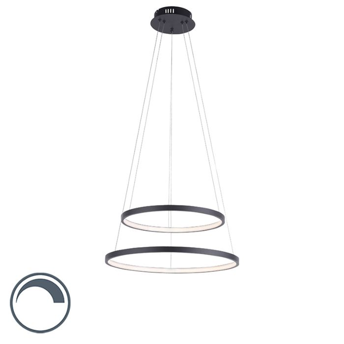 Moderne-ring-hanglamp-antraciet-incl.-LED-dimbaar---Anella-Duo