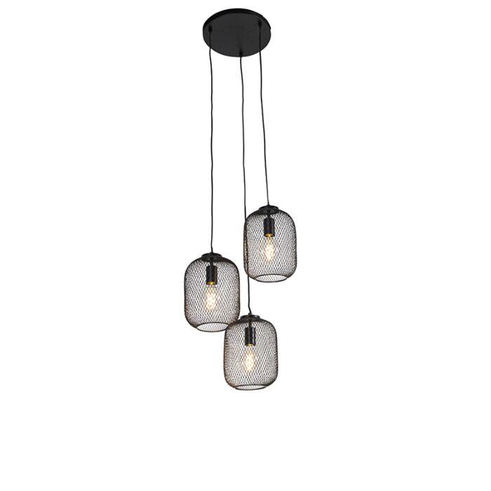 Industriële-hanglamp-zwart-45-cm-3-lichts---Bliss-Mesh