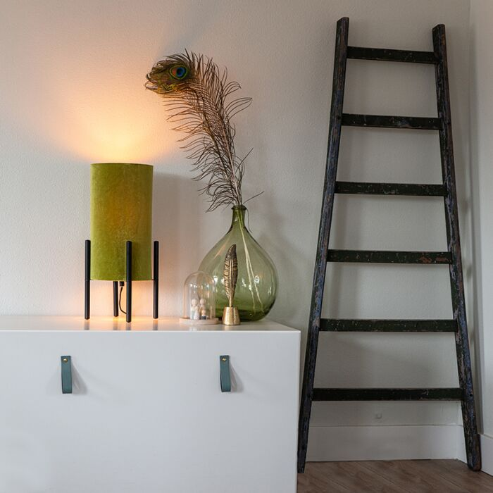 Design-tafellamp-zwart-velours-kap-groen-met-goud---Rich