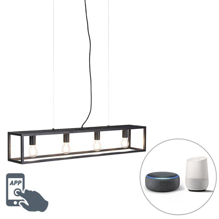 Smart-industriële-hanglamp-zwart-incl.-4-WiFi-A60---Cage-4