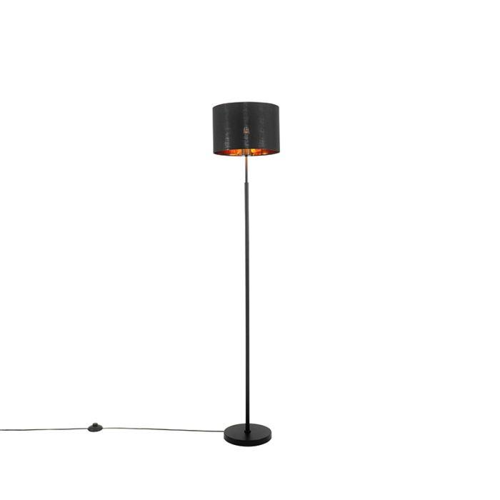 Moderne-vloerlamp-zwart-met-goud---VT-1-