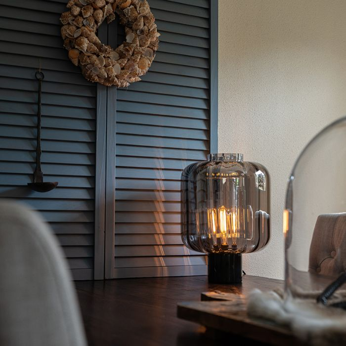 Design-tafellamp-zwart-met-smoke-glas---Qara