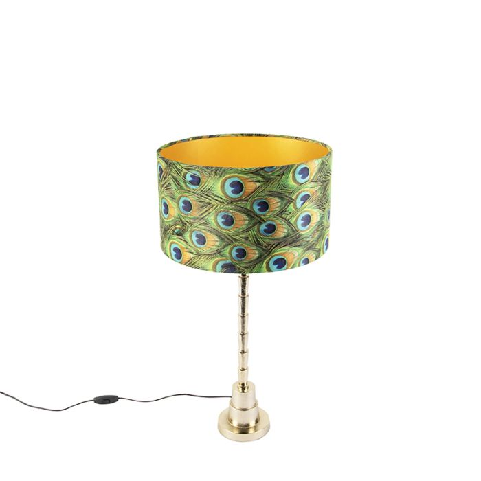 Art-deco-tafellamp-met-velours-kap-pauw-35-cm---Pisos