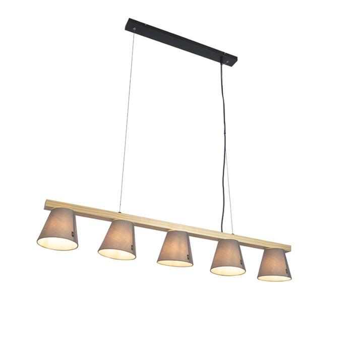 Landelijke-hanglamp-hout-met-grijs-5-lichts---Cupy