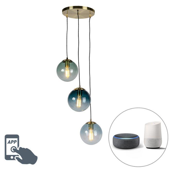 Smart-hanglamp-messing-incl.-3-WiFi-ST64-met-blauw-glas---Pallon