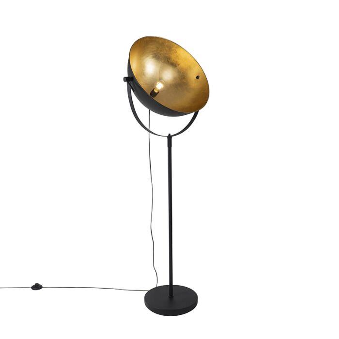 Industriële-vloerlamp-zwart-50-cm-met-goud-verstelbaar---Magnax