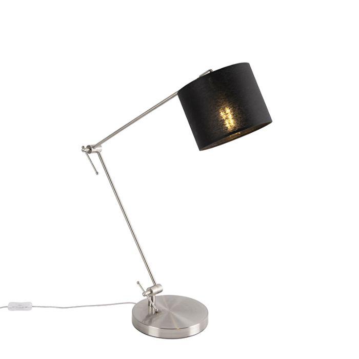 Design-tafellamp-staal-met-zwarte-kap-18-cm---Editor