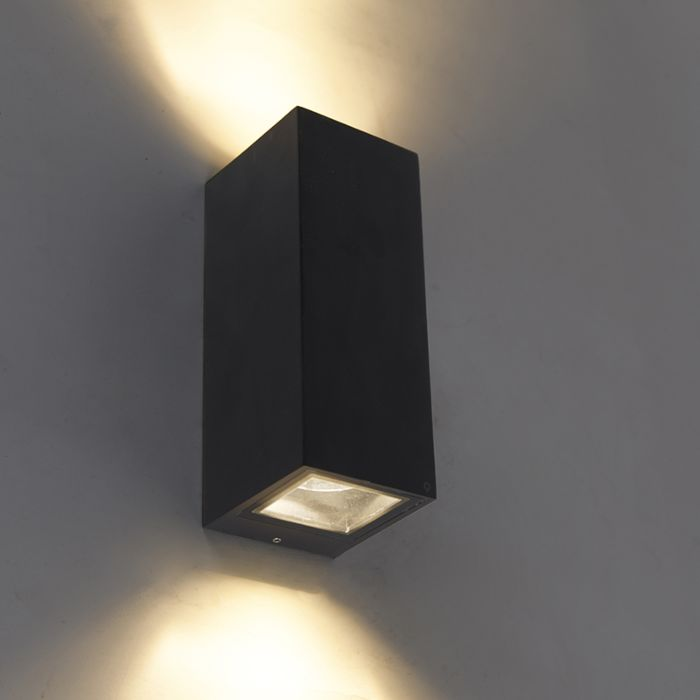 Moderne-wandlamp-zwart-GU10-AR70-IP54---Baleno-II