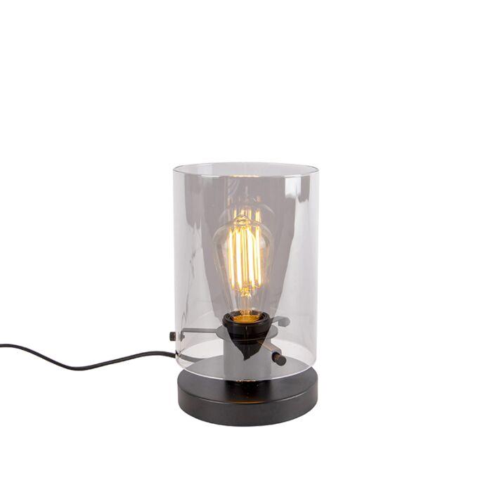 Design-tafellamp-zwart-met-smoke-glas---Dome