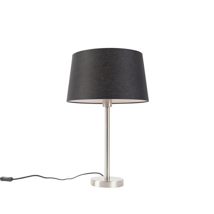 Moderne-tafellamp-staal-met-zwarte-kap-35-cm---Simplo
