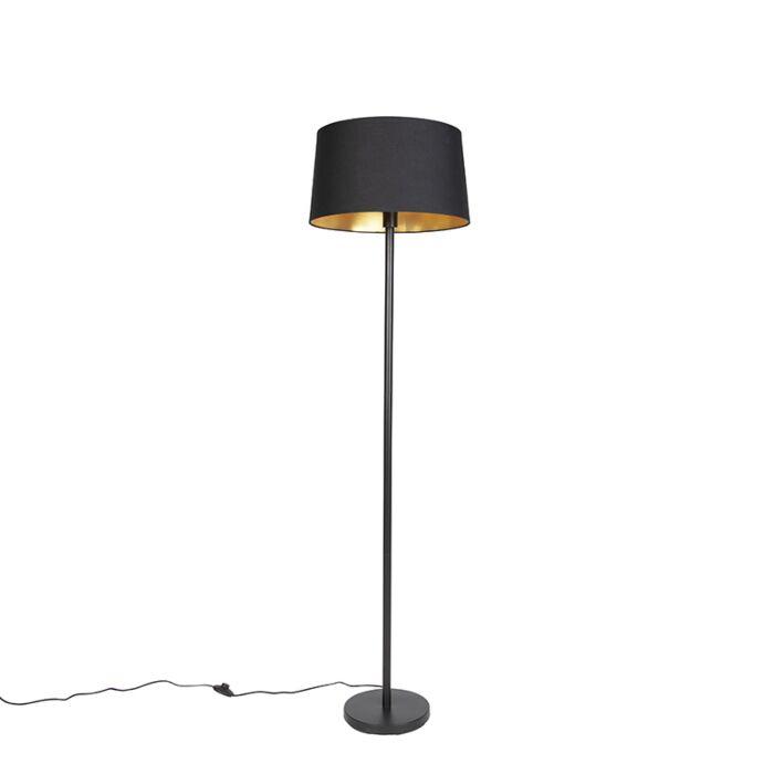 Moderne-vloerlamp-zwart-met-zwarte-kap-45-cm---Simplo