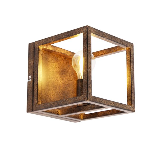 Industriële-wandlamp-roestbruin---Cage