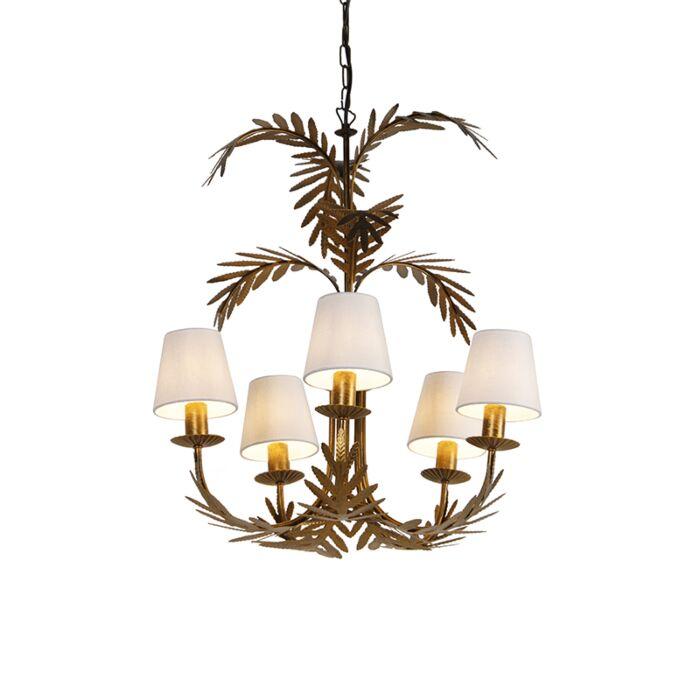 Kroonluchter-goud-met-witte-kappen-5-lichts---Botanica