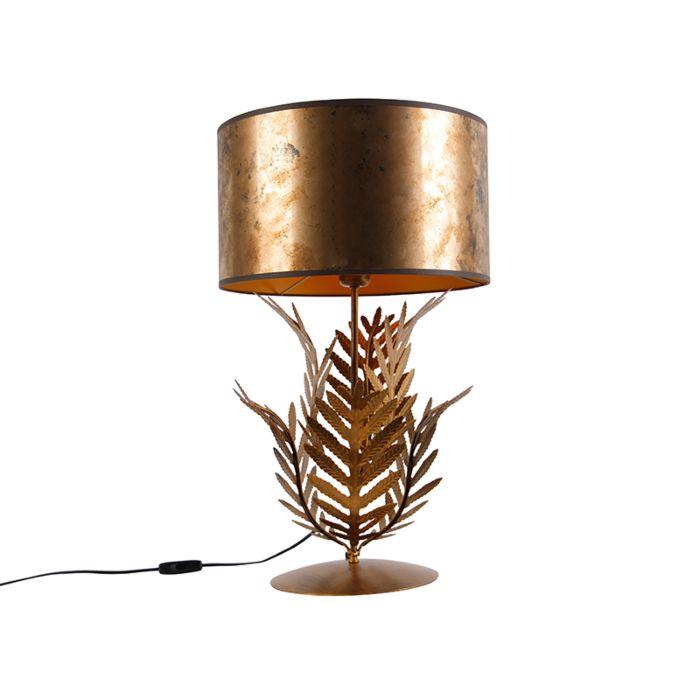 Vintage-tafellamp-goud-met-bronzen-kap---Botanica