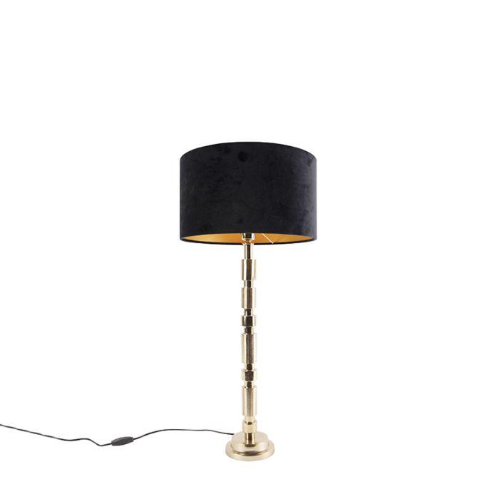 Art-deco-tafellamp-goud-met-velours-kap-zwart-35-cm---Torre