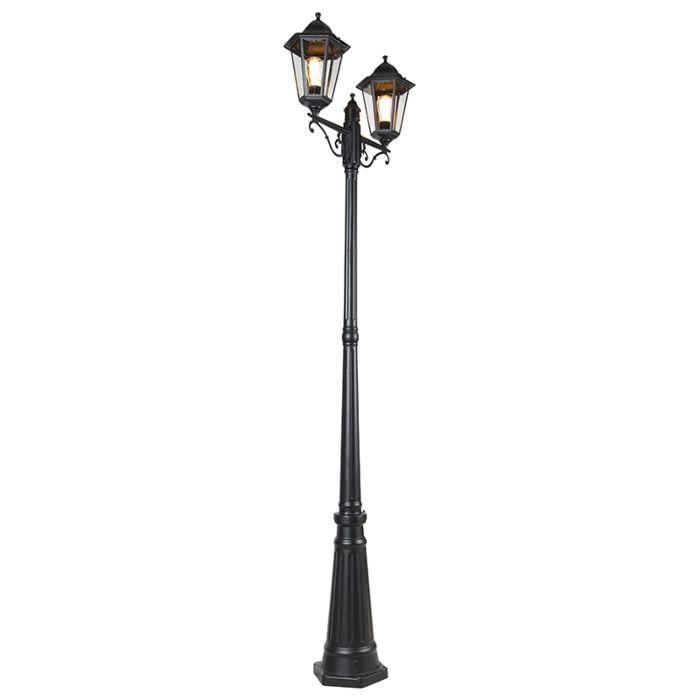 Buitenlantaarn-zwart-220-cm-2-lichts-IP44---New-Orleans