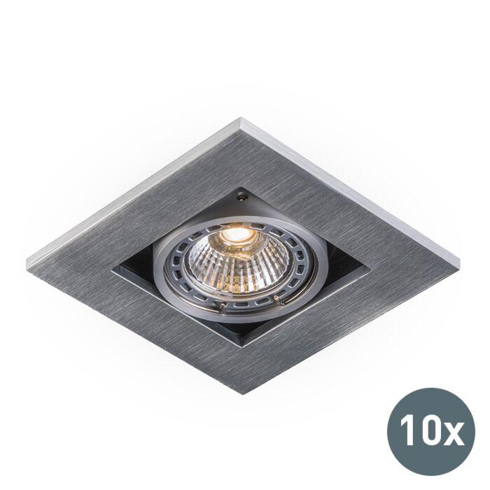 Set-van-10-moderne-inbouwspots-aluminium-3-mm-dik---Qure