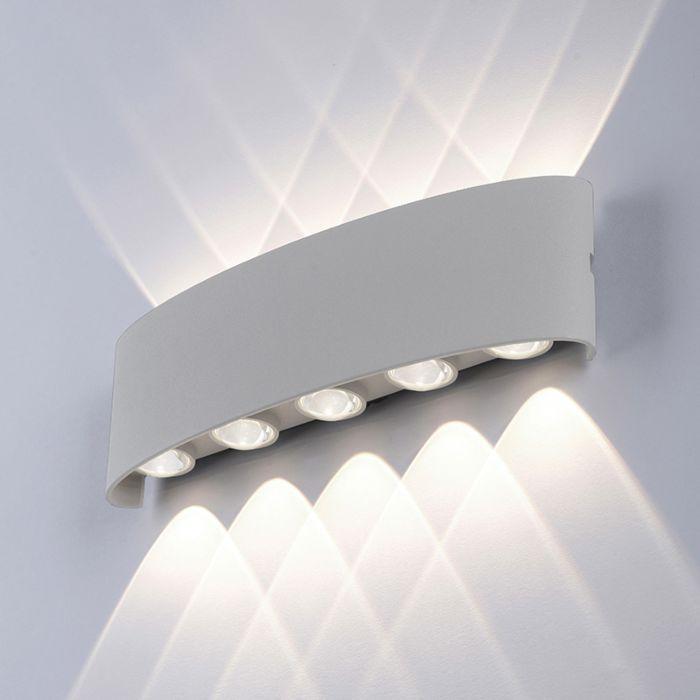 Moderne-wandlamp-grijs-27-cm-incl.-LED-IP54---Wendy