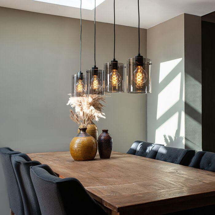 Design-hanglamp-zwart-met-smoke-glas-4-lichts---Dome