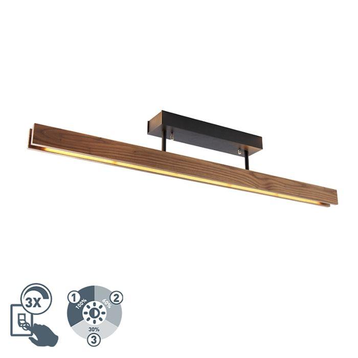 Landelijke-plafondlamp-hout-incl.-LED-3-staps-dimbaar---Holz