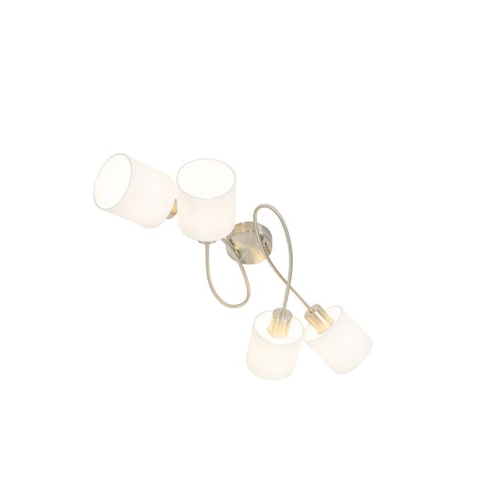 Moderne-plafondspot-staal-met-witte-kap-4-lichts---Hetta