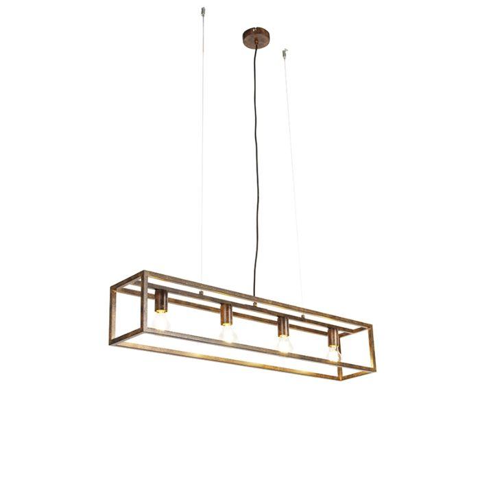 Industriële-hanglamp-roestbruin-4-lichts---Cage