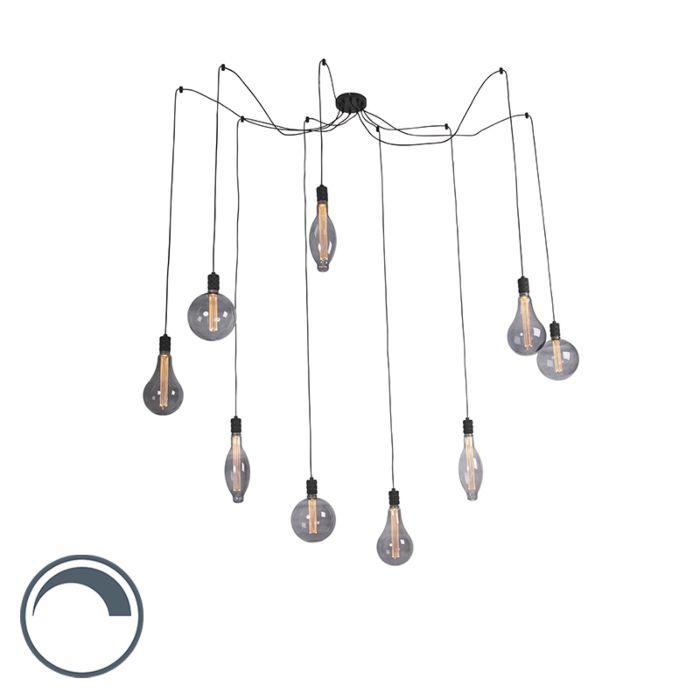 Hanglamp-smoke-glass-incl.-9-lichtbronnen-dimbaar---Cavalux