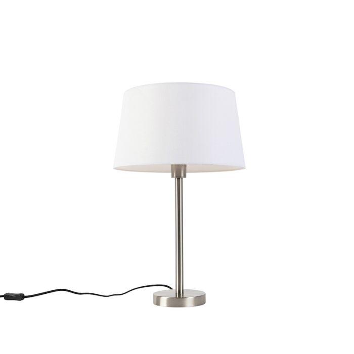 Moderne-tafellamp-staal-met-witte-kap-32-cm---Simplo