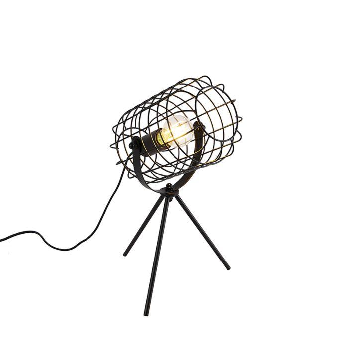 Industriële-tafellamp-tripod-zwart-40-cm---Bliss-Vefa