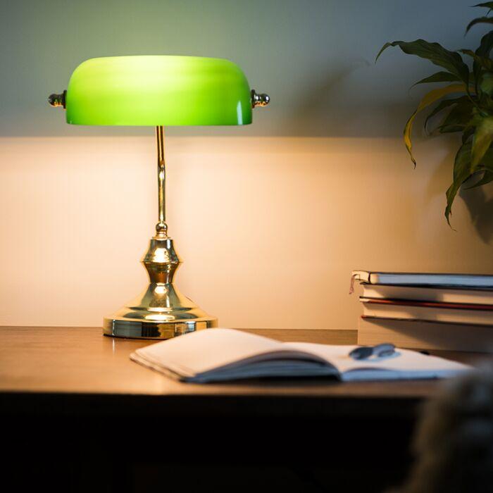 Klassieke-notarislamp---goud/groen