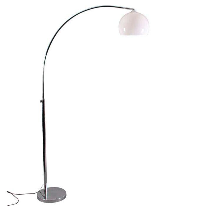 Kleine-booglamp-chroom-met-witte-kap