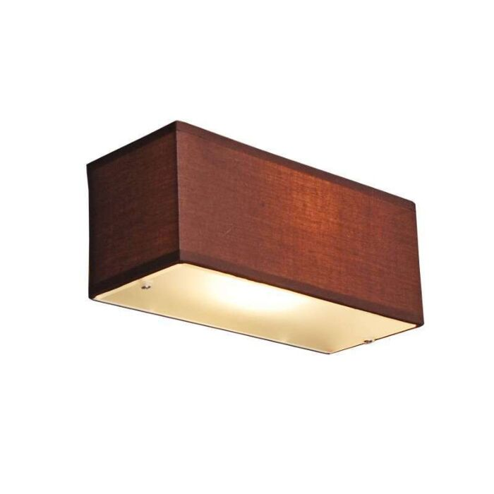 Wandlamp-Drum-rechthoek-bruin