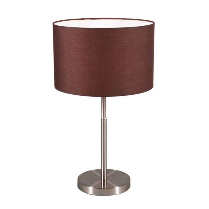 Tafellamp-Drum-staal-met-kap-bruin