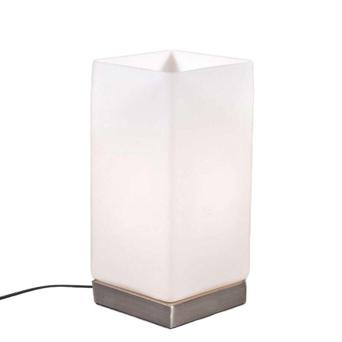 Tafellamp-Accu-staal-met-wit-glas