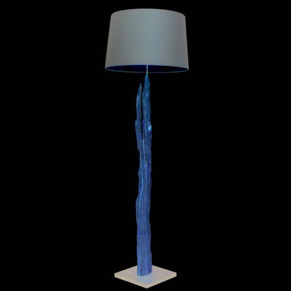 Vloerlamp-Aranya-bleached-met-bruine-kap