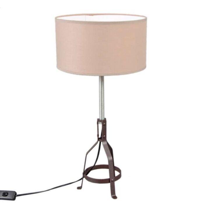 Tafellamp-Metallo-bruin-met-taupe-kap